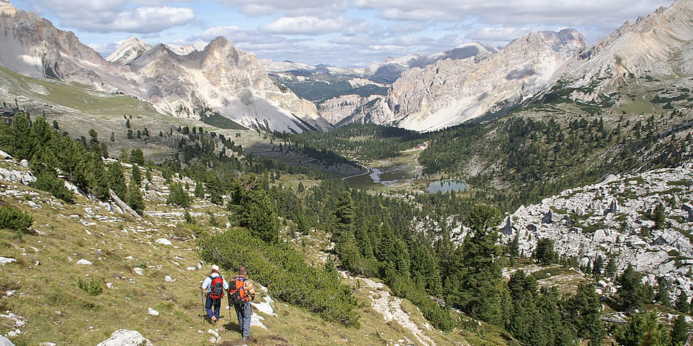 Hiking in the paradise of Fanes in the Dolomites